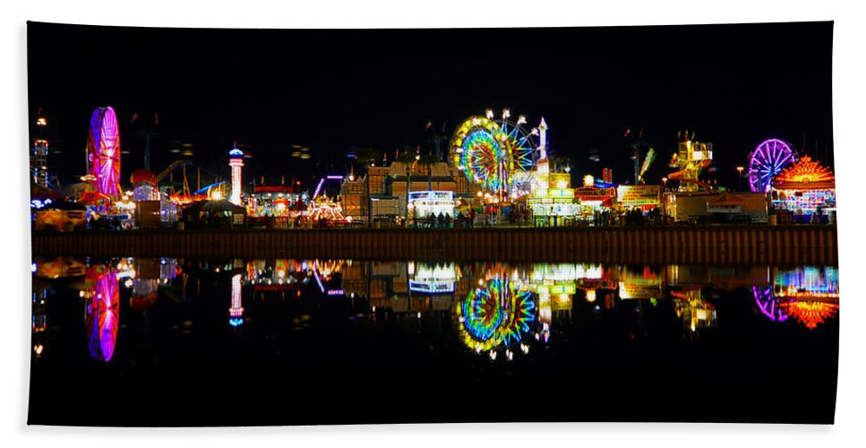 Reflection Hand Towel featuring the photograph State Fair In Reflection by David Lee Thompson
