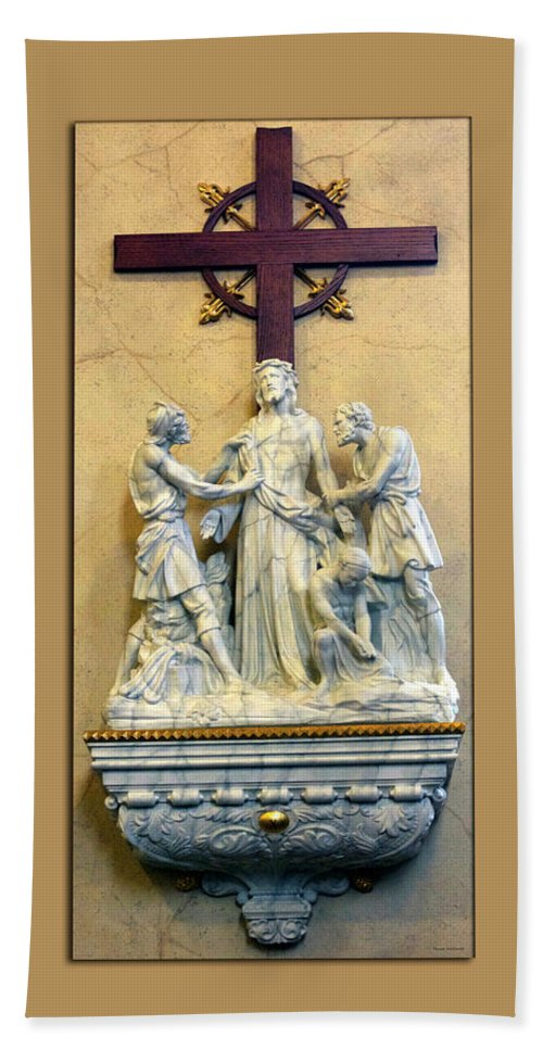 Statue Bath Sheet featuring the photograph Station Of The Cross 10 by Thomas Woolworth