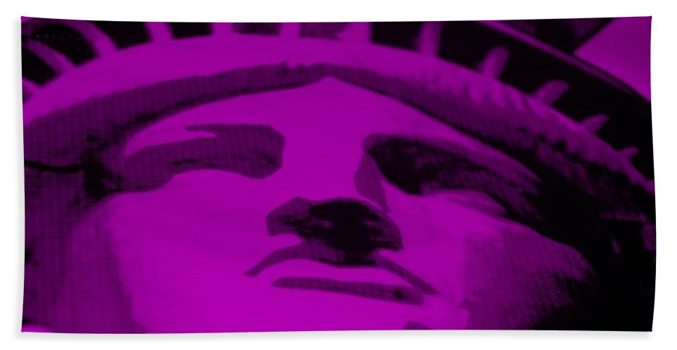 Statue Of Liberty Bath Sheet featuring the photograph Statue Of Liberty In Purple by Rob Hans