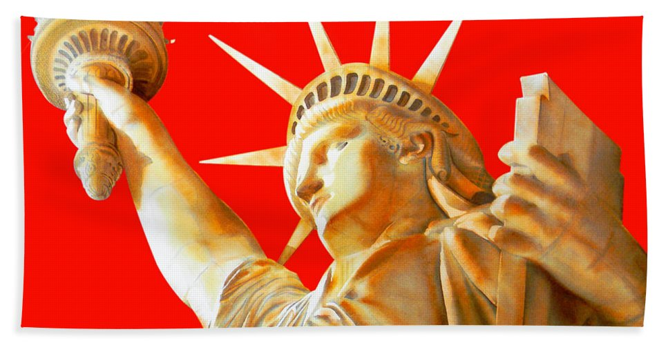 Statue Of Liberty Bath Sheet featuring the painting S T A T U E . O F . L I B E R T Y . In Red by J - O  N  E