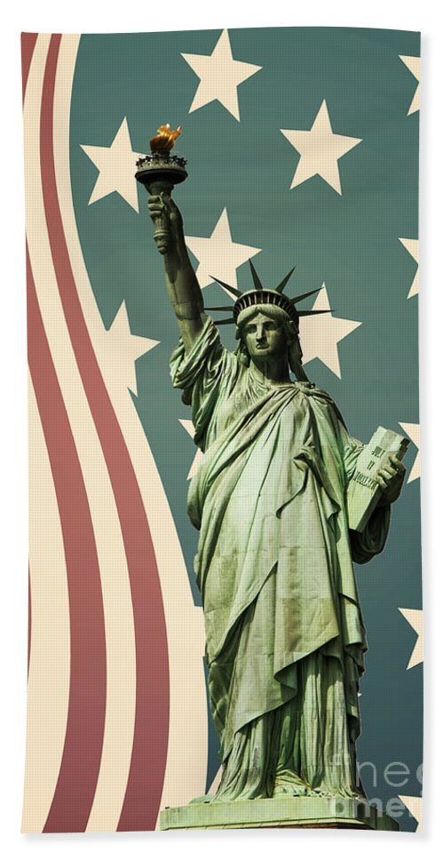 America Bath Towel featuring the photograph Statue Of Liberty by Juli Scalzi