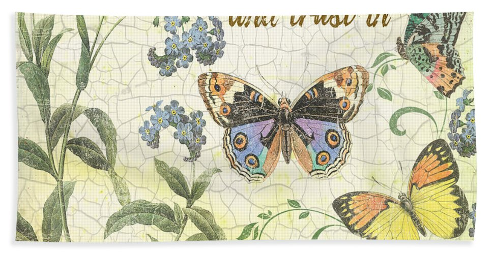 Butterfly Hand Towel featuring the digital art Stay Calm-trust In Jesus-2 by Jean Plout