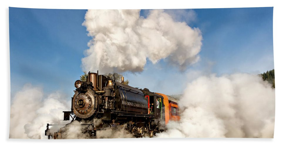 Mt Rainier Scenic Railroad Bath Sheet featuring the photograph Steam Power by Mary Jo Allen