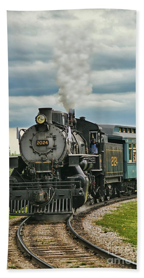 Trains Hand Towel featuring the photograph Steam Trains Tr3629-13 by Randy Harris