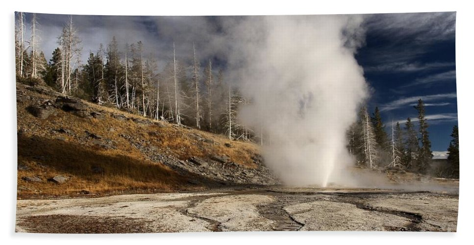 Vent Geyser Hand Towel featuring the photograph Steaming Streams by Adam Jewell