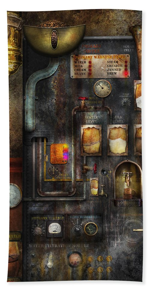 Steampunk Bath Towel featuring the digital art Steampunk - All That For A Cup Of Coffee by Mike Savad