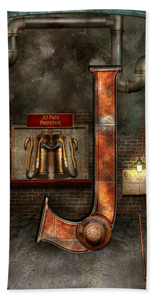 Self Bath Sheet featuring the photograph Steampunk - Alphabet - J Is For Jet Pack by Mike Savad