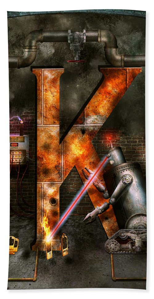 Self Bath Sheet featuring the photograph Steampunk - Alphabet - K Is For Killer Robots by Mike Savad