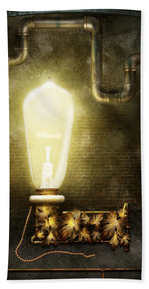 Self Bath Sheet featuring the photograph Steampunk - Alphabet - L Is For Light Bulb by Mike Savad