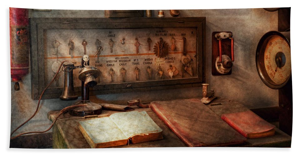 Electric Hand Towel featuring the photograph Steampunk - Electrical - My 9 To 5 Job by Mike Savad