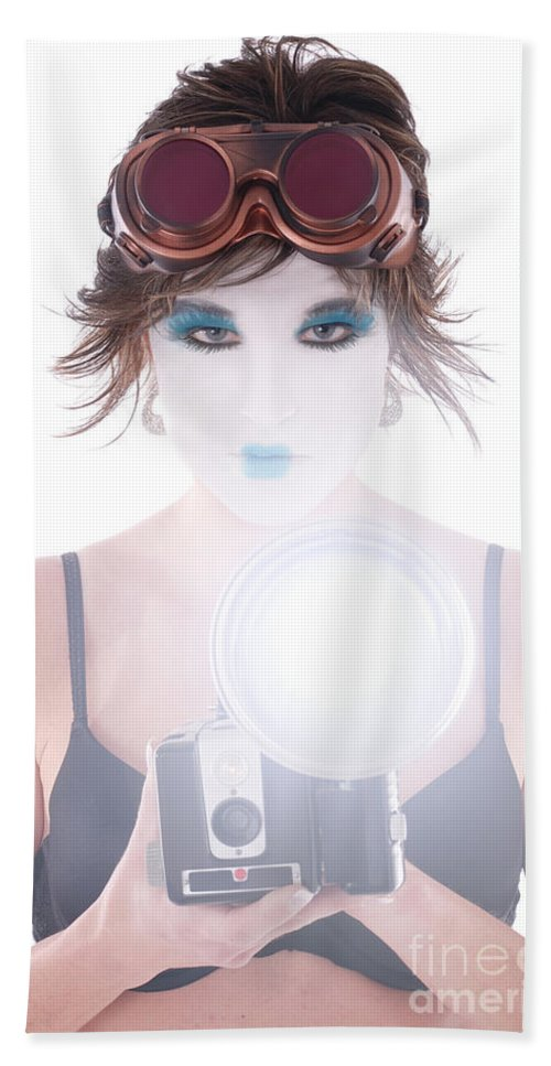 Steampunk Bath Sheet featuring the photograph Steampunk Geisha Photographer by Jt PhotoDesign
