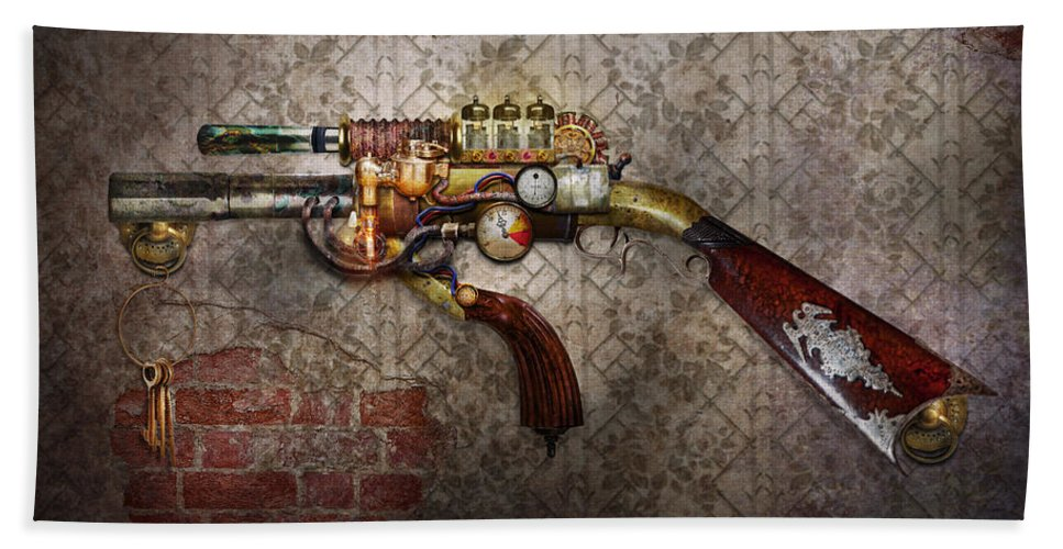 Steampunk Bath Sheet featuring the photograph Steampunk - Gun - The Sidearm by Mike Savad