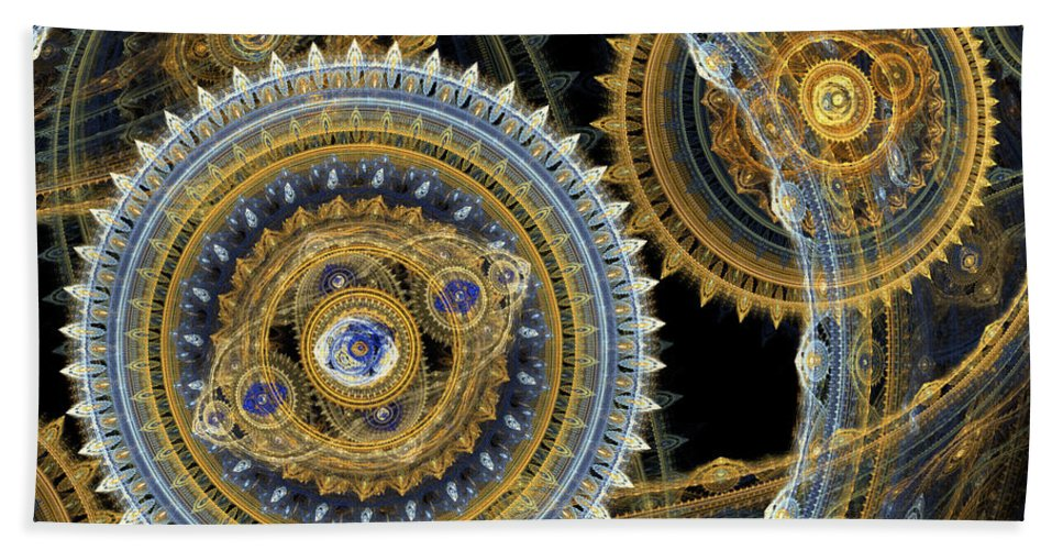 Machinist Bath Sheet featuring the digital art Steampunk Machine by Martin Capek