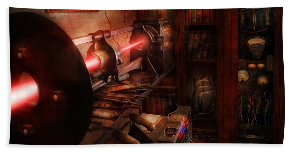 Cyberpunk Hand Towel featuring the photograph Steampunk - Photonic Experimentation by Mike Savad