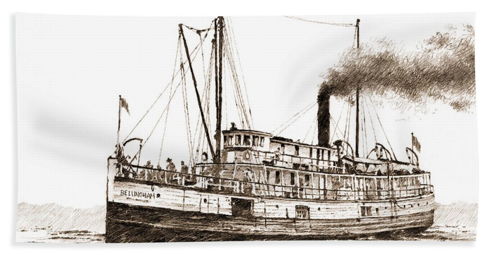 Steamship Drawing Hand Towel featuring the drawing Steamship Bellingham Sepia by James Williamson