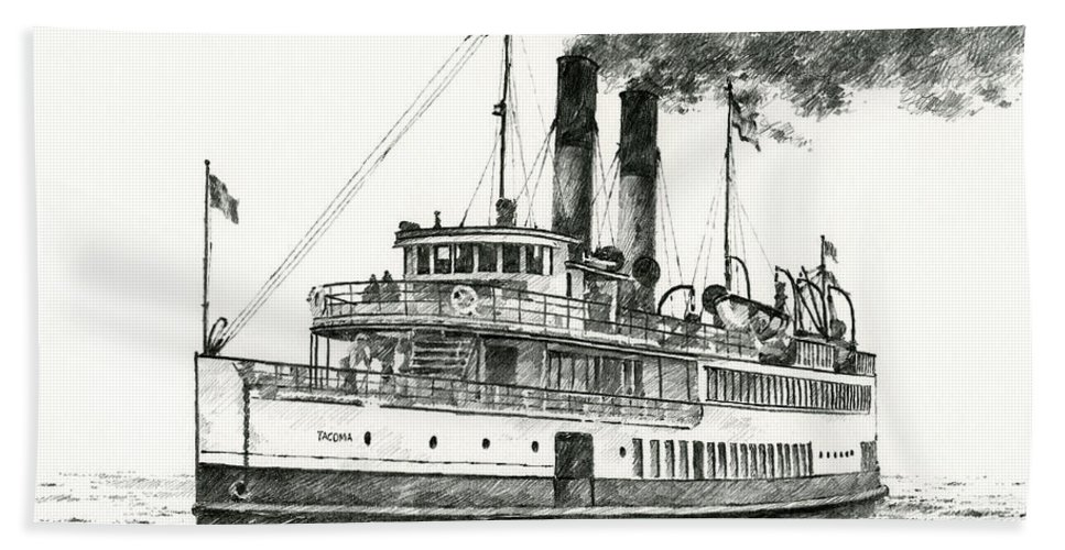 Steamship Hand Towel featuring the drawing Steamship Tacoma by James Williamson