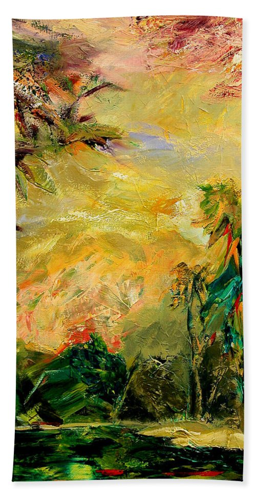 Tropical Paintings Bath Sheet featuring the painting Steamy Cove by Julianne Felton