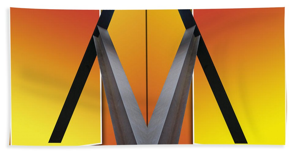 Out Of Bounds Hand Towel featuring the photograph Steel Beams 02 Mirror Image by Thomas Woolworth