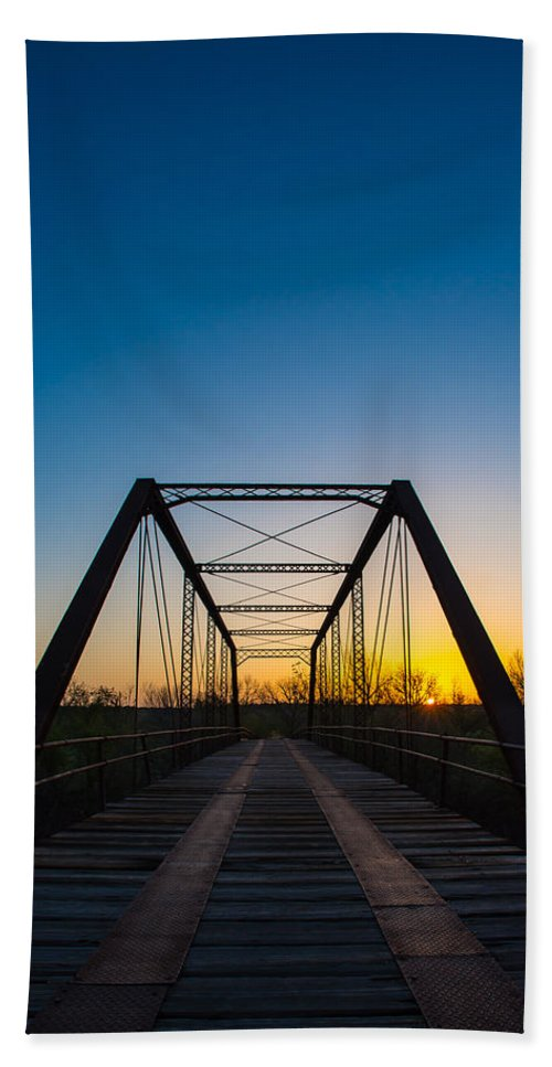 Steel Hand Towel featuring the photograph Steel Bridge by David Downs