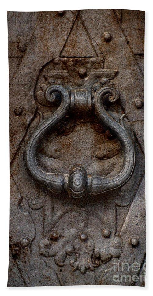 Metal Hand Towel featuring the photograph Steel Decorated Doorknob by Jaroslaw Blaminsky