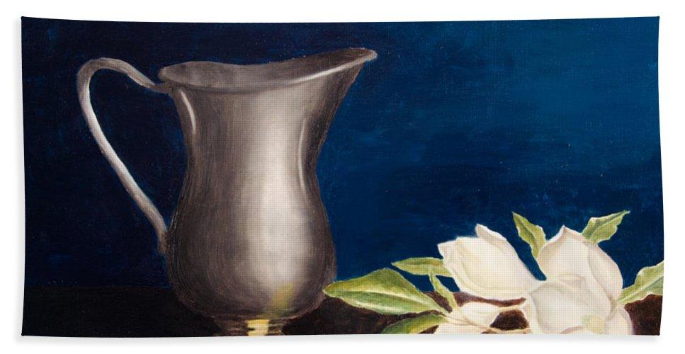 Steel Bath Sheet featuring the painting Steel Magnolias by Laurel Best