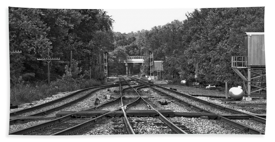 Railroad Bath Towel featuring the photograph Steel Rail Intersections.  Point Of Rocks Md by Thomas Marchessault