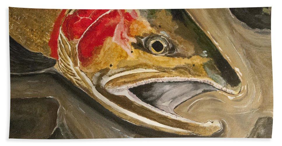 Steelhead Hand Towel featuring the painting Steelhead Buck by Sara Stevenson