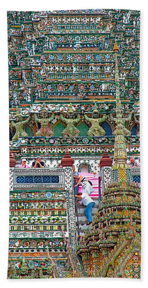 Steep Stairs Lead To Higher Level Of Temple Of The Dawn Hand Towel featuring the photograph Steep Stairs Lead To Higher Level Of Temple Of The Dawn-wat Arun In Bangkok-thailand by Ruth Hager