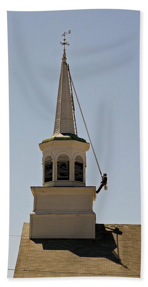 Steeple Painter Hand Towel featuring the photograph Steeple Painter by Eric Swan