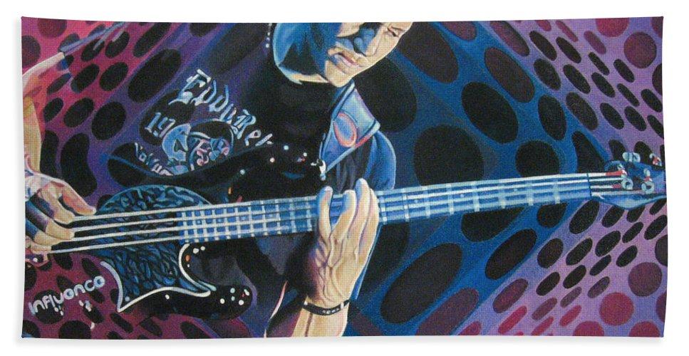 Stefan Lessard Hand Towel featuring the drawing Stefan Lessard-pop-op Series by Joshua Morton