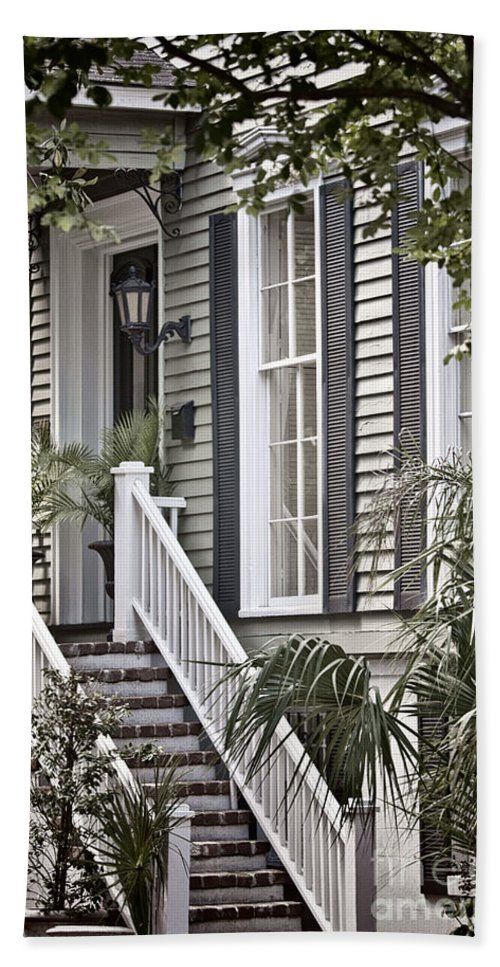 House; Home; Exterior; Outside; Outdoors; Steps; Stairs; Staircase; Brick; Wood; Rail; Railing; Side; Windows; Siding; Door; Light; Entrance; Facade; Entry; Plants; Green; Nature; Trees; Welcome; Lovely; Beautiful Hand Towel featuring the photograph Step Up by Margie Hurwich
