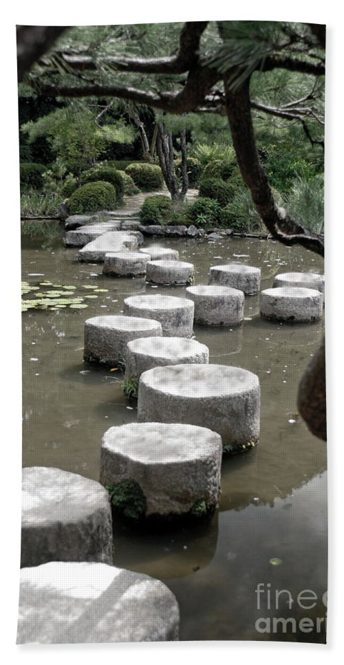 Kyoto Bath Sheet featuring the photograph Stepping Stone Kyoto Japan by Thomas Marchessault