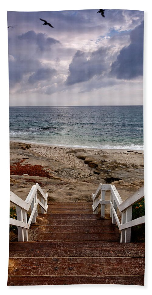 Beach Hand Towel featuring the photograph Steps And Pelicans by Peter Tellone