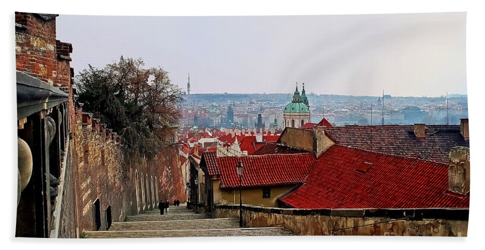 Travel Bath Sheet featuring the photograph Steps Of Prague by Elvis Vaughn