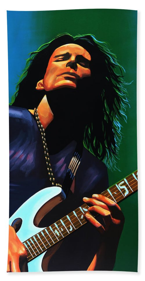 Steve Vai Bath Towel featuring the painting Steve Vai by Paul Meijering