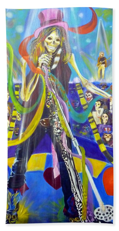 Steven Tyler Bath Sheet featuring the painting Steven Tyler In 50 Years by To-Tam Gerwe