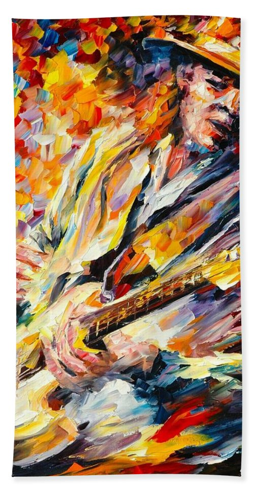 Stevie Ray Vaughan Fall Rain Afremov Painting Palette Knife Art Handmade Surreal Abstract Oil Landscape Original Realism Unique Special Life Color Beauty Admiring Light Reflection Piece Renown Authenticity Smooth Certificate Colorful Beauty Perspective Music Guitar Hand Towel featuring the painting Stevie Ray Vaughan by Leonid Afremov