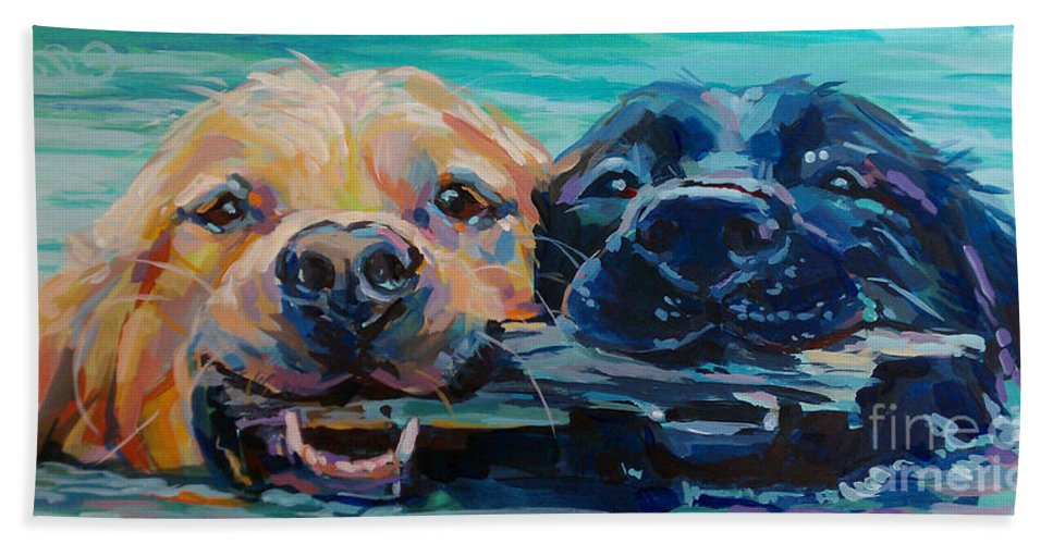 Golden Retriever Hand Towel featuring the painting Stick It by Kimberly Santini