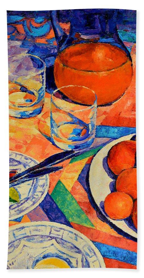 Still Life Bath Sheet featuring the painting Still Life 1 by Iliyan Bozhanov