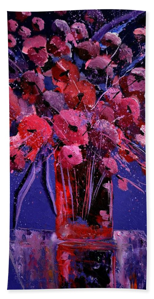 Flowers Bath Sheet featuring the painting Still Life 964521 by Pol Ledent