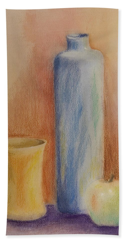 Still Life Bottle Glass Apple Mixed Media Hand Towel featuring the painting Still Life by Brenda Salamone