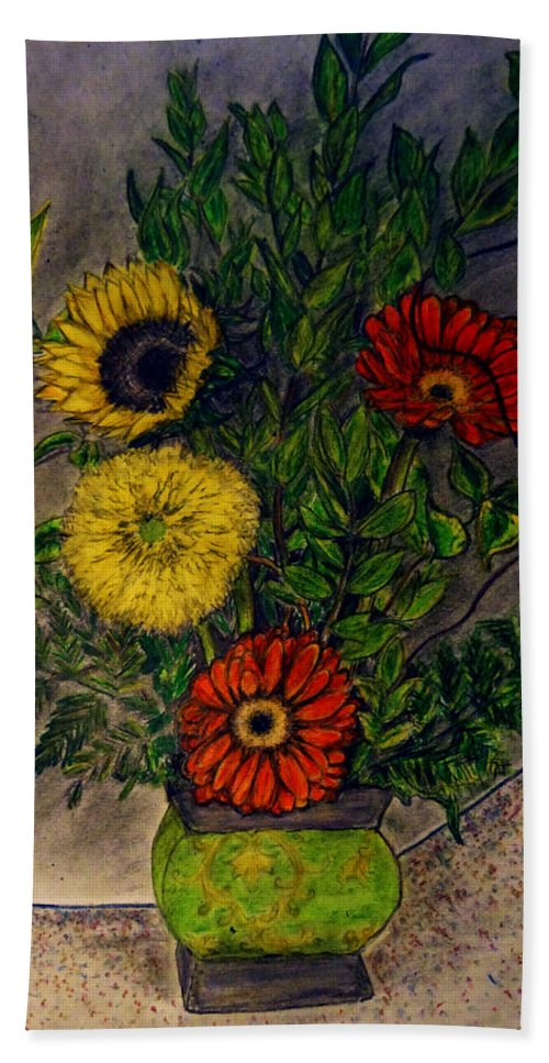 Still Life Bath Sheet featuring the drawing Still Life Ceramic Vase With Two Gerbera Daisy And Two Sunflowers by Jose A Gonzalez Jr