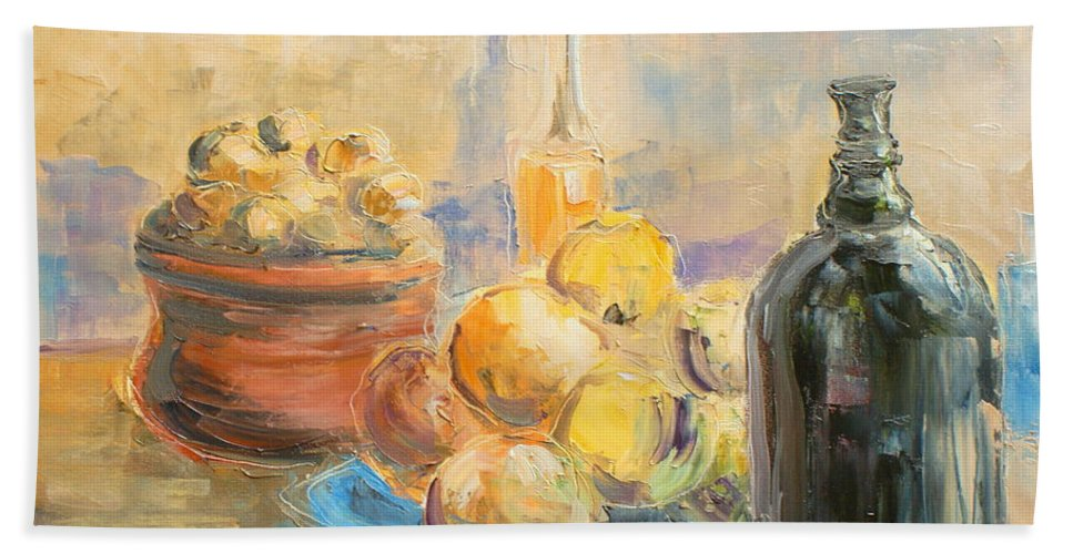 Still Life Hand Towel featuring the painting Still Life From Italy by Luke Karcz
