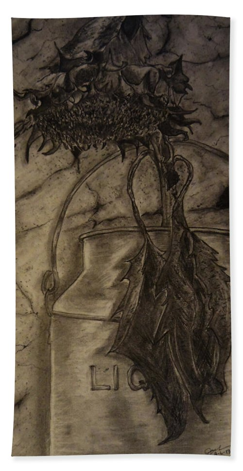 Still Life Hand Towel featuring the drawing Still Life One Dried Sunflower In Metal Jug by Jose A Gonzalez Jr