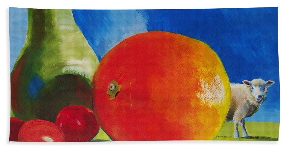 Pear Hand Towel featuring the painting Still Life Painting by Mike Jory