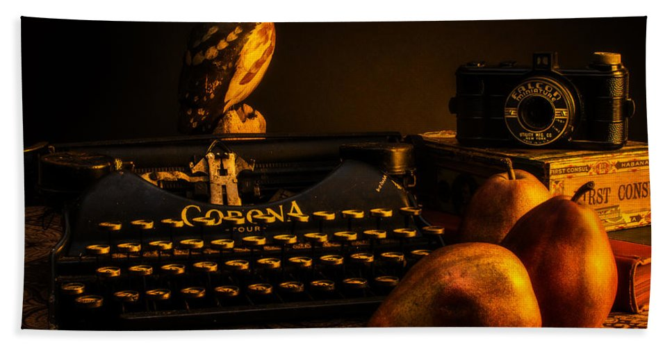 Camera Bath Towel featuring the photograph Still Life - Pears And Typewriter by Jon Woodhams