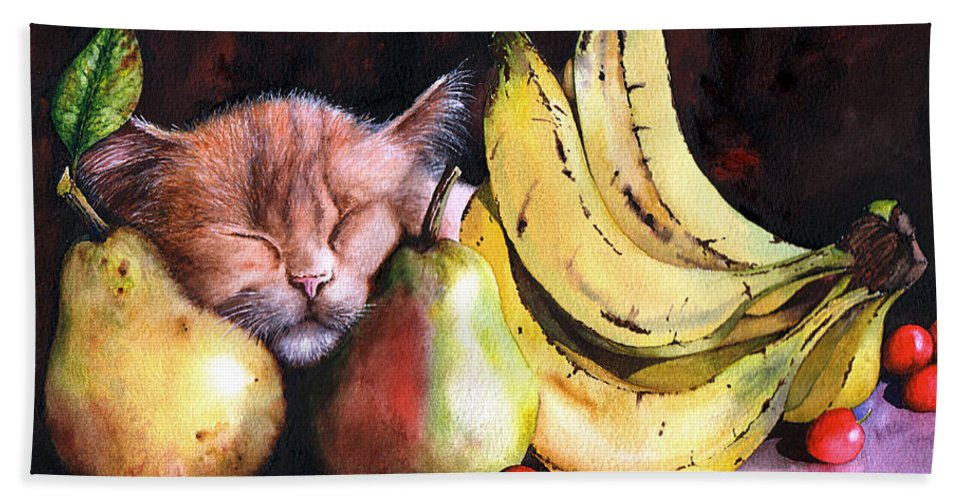 Cat Hand Towel featuring the painting Still Life by Peter Williams