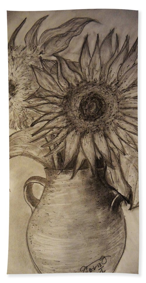 Still Life Hand Towel featuring the drawing Still Life Two Sunflowers In A Clay Vase by Jose A Gonzalez Jr