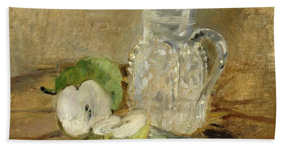 Pomme Coupee Et Pichet; Sliced; Knife; Impressionist; Jug; Table; Nature Morte Bath Sheet featuring the painting Still Life With A Cut Apple And A Pitcher by Berthe Morisot