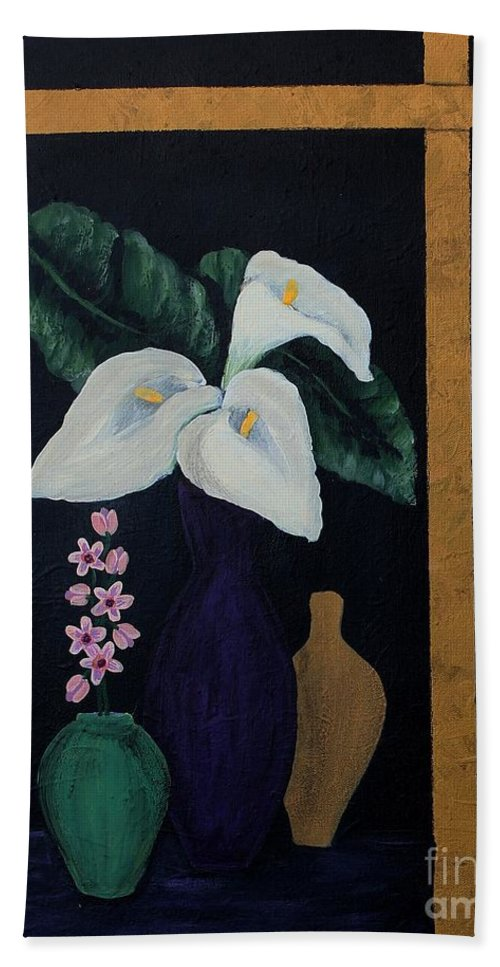 Barbara Griffin Bath Sheet featuring the painting Still Life With Calla Lilies by Barbara Griffin